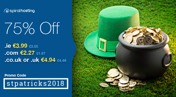 St Patrick's Day Promotion 75% Off Domains